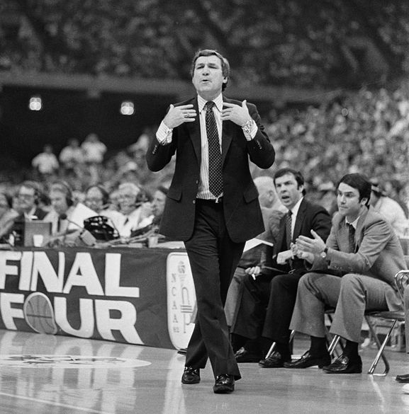 University of North Carolina men's basketball head coach Dean Smith on sidelines during Final Four, March 1982
