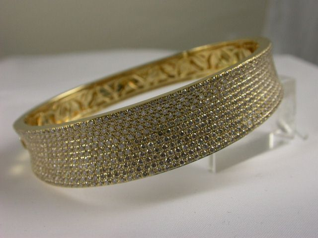 Beautifully Crafted #Diamond #Bangle in 18ct yellow #gold pave set with 584 x round brilliant cut diamonds each approx. 1pts = total 5.14ct; very elegant interior finish. Price: $15950.00