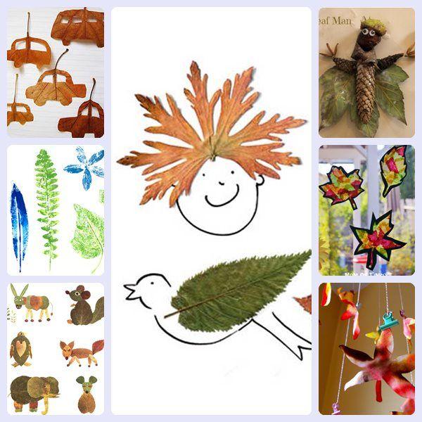 7 manualidades para niños con hojas