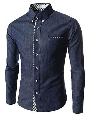 (AL980-NAVY) Slim Fit 2 Tone Checker Patched 1 Chest Pocket Long Sleeve Shirts