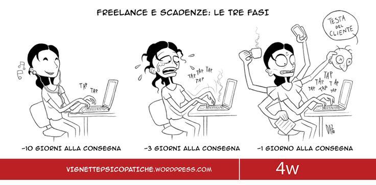 Le scadenze sono l'incubo di ogni #freelance.  #dan8 #vignette #4writing #socialmediamarketing #grafica #umorismo #ironia #vitadafreelance #scadenze #panico #panic