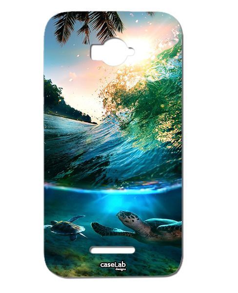 CUSTODIA COVER CASE TARTARUGA PALME CIELO FONDO MARE SEA PER ALCATEL POP C7