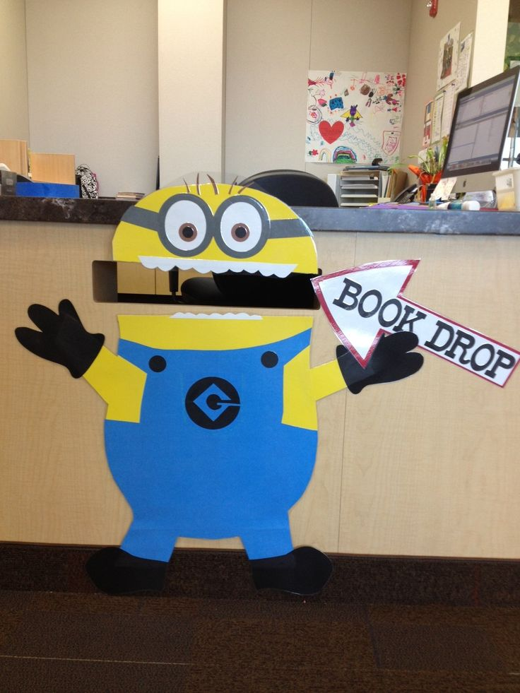 """The students love to use the Book Drop now that they get to """"feed"""" the Minion."""