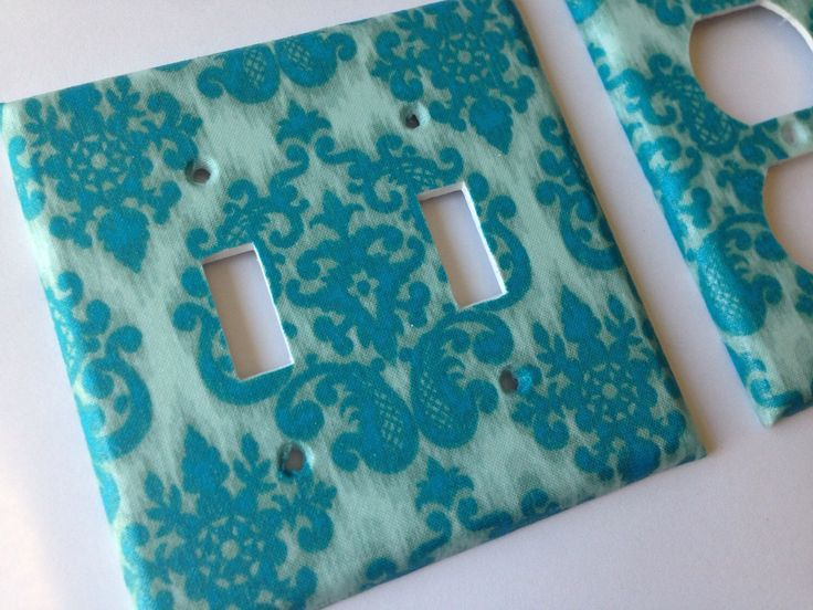 Teal Damask Double Light Switch Plate Set / Aqua Room Decor / Teal Home Decor / Teal Nursery Decor / Bathroom Decor/ Bedroom Decor by COUTURELIGHTPLATES on Etsy https://www.etsy.com/listing/236273730/teal-damask-double-light-switch-plate