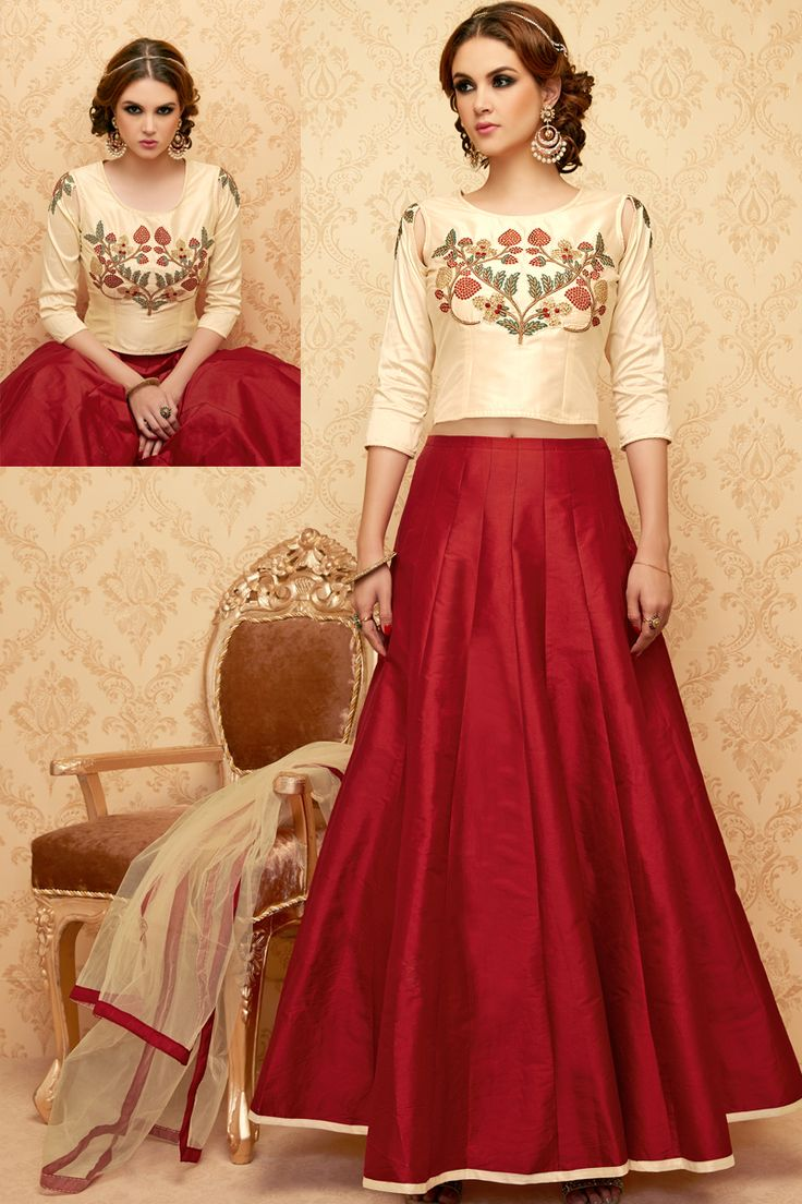 Cream Stylish Eid Special Party Wear Suit With Ghaghara  And Embroidary Work 108
