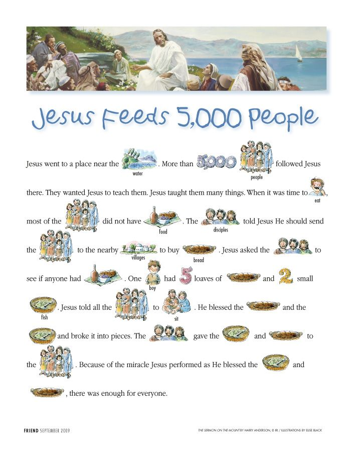 Jesus feeds 5000 people read-along- click to follow link once on page