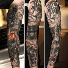 The Jack Daniels ink the full sleeve.