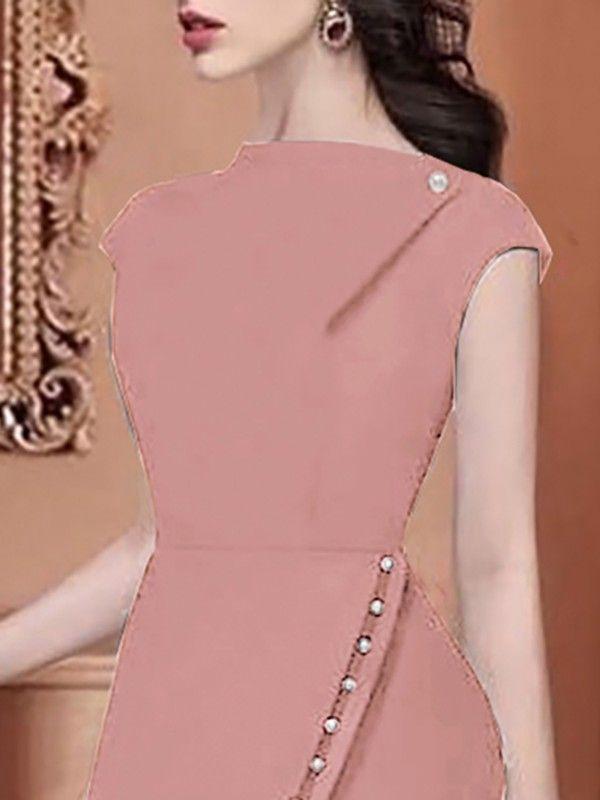 Beading Embellished Slit Irregular Midi Dress Creative Rosy