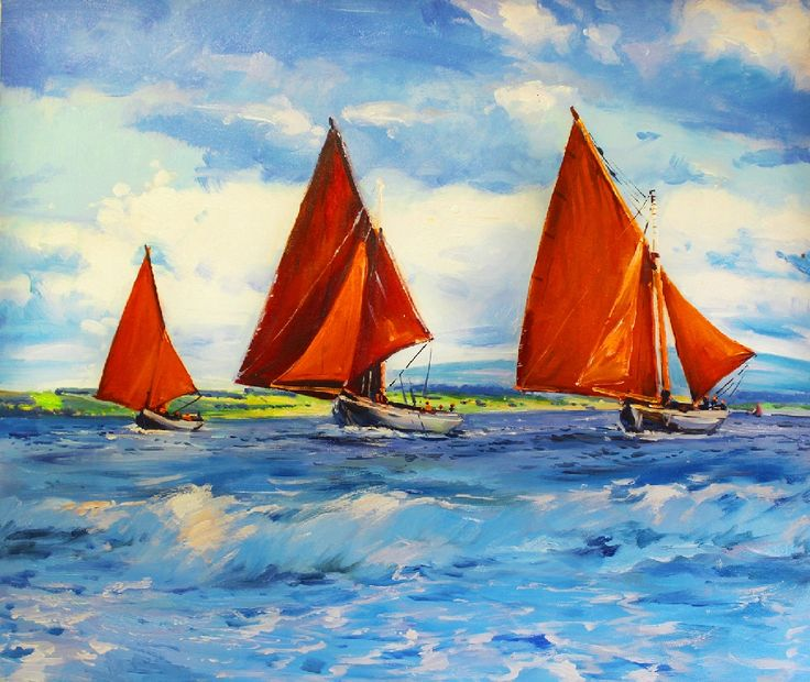 Three Hookers by Conor Mcguire on ArtClick.ie Galway Bay Ireland Seascape
