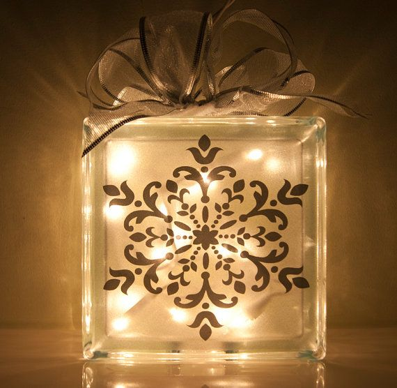 Love the glass block idea for Christmas decorating and presents