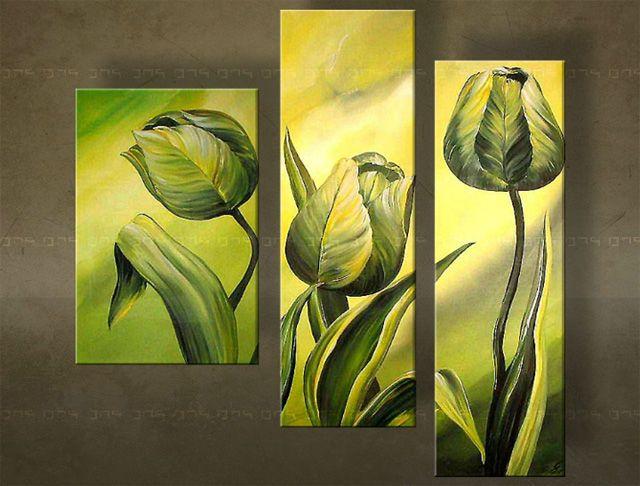 Ručně malovaný obraz KVĚTINY 3 dílný  3819FA