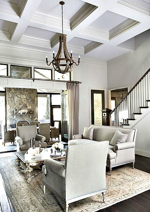 Greige Family Great Room - Coffered Ceiling, Stone Fireplace, Chandelier, Dark Hardwoods...Elegant & Grand -in a Small Space via adoreyourplace.com