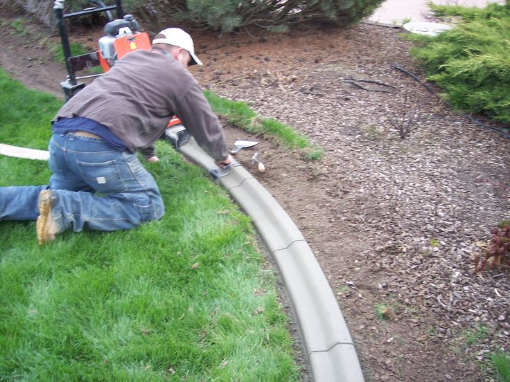 Our concrete curbing adds a beautiful finished look to for Diy landscape edging