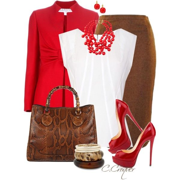 Beaded Cluster Red Necklace, created by ccroquer on Polyvore