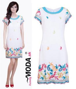 Biele vyšivané letné dámske šaty– trendymoda.sk
