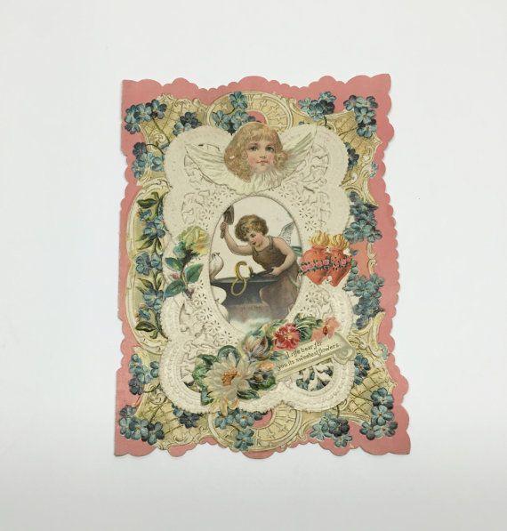 Vintage romantique Valentine carte dentelle victorienne amour