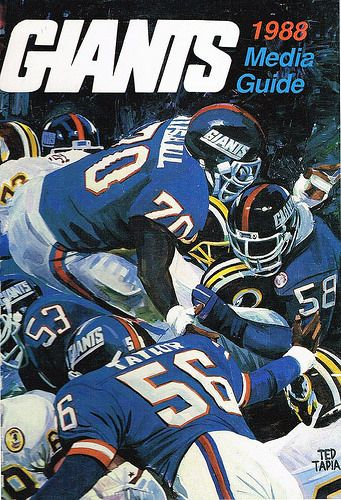 NY Giants 1988 Media Guide cover art byTed Tapia