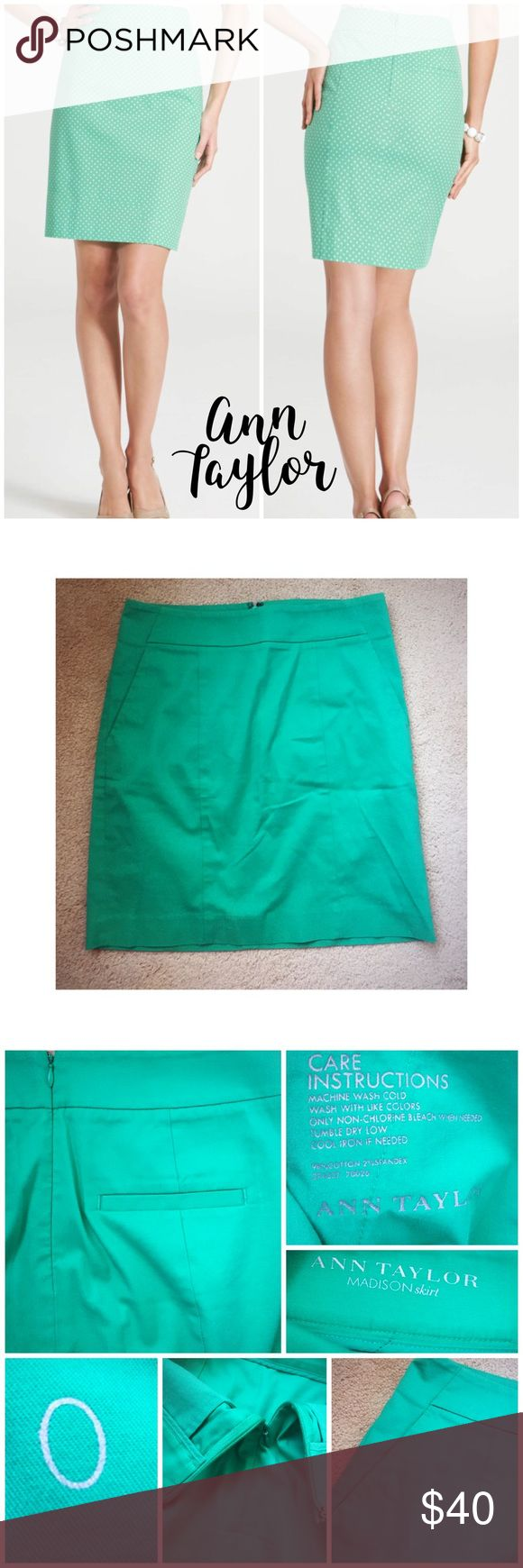 """Ann Taylor Madison pencil skirt 0 Ann Taylor Madison pencil skirt in Kelly green with 2 faux back pockets and 2 side pockets that are still sewn together from purchase! 98% cotton, 2% spandex with back zipper closure with clasp at top waist. Perfect condition, just wrinkled! 14"""" flat waist, 18.5"""" long💖 Ann Taylor Skirts Pencil"""