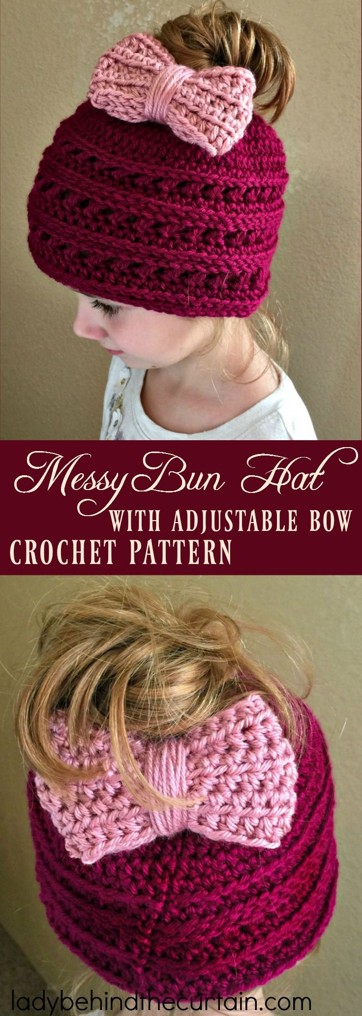 Messy Bun Hat with Adjustable Bow Crochet Pattern | easy crochet pattern, winter hat, messy bun fun