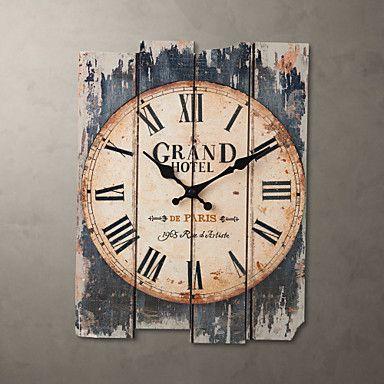 "15 ""estilo h país relógio de parede marrom – BRL R$ 96,16"