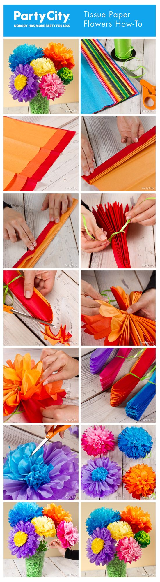DIY Tutorial: How to make pretty tissue paper flowers. Step-by-step photo tutorial for different sizes and petal shapes