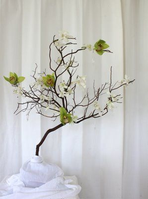 Manzanita Branches with green and white orchids