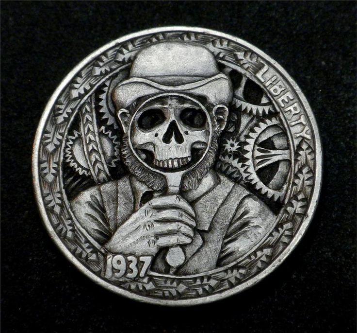 "Hobo Nickel ""Skin Deep"" Steampunk X-Ray Magnifying Glass Skull by Howard Thomas"