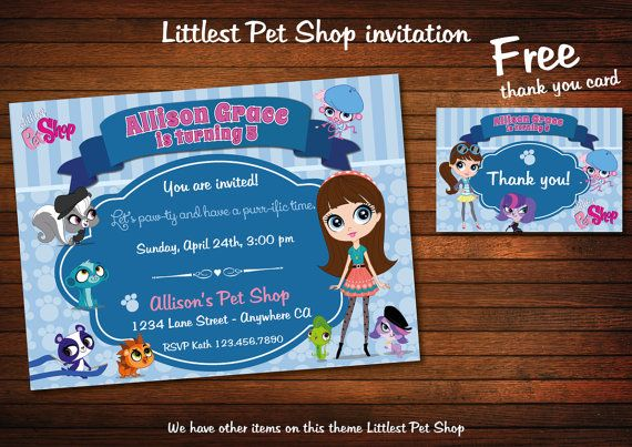 LITTLEST PET SHOP Invitation Digital Customizable by BolleBluParty