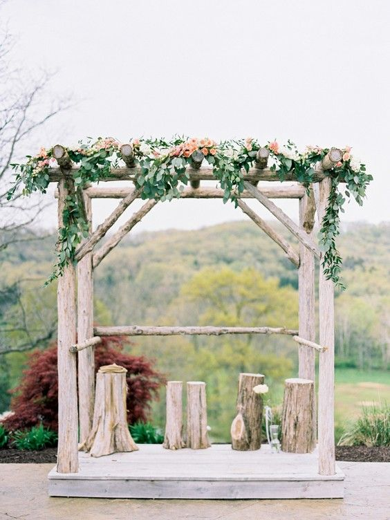 rustic tree stump wedding arch ideas | Trees, Arches and ...