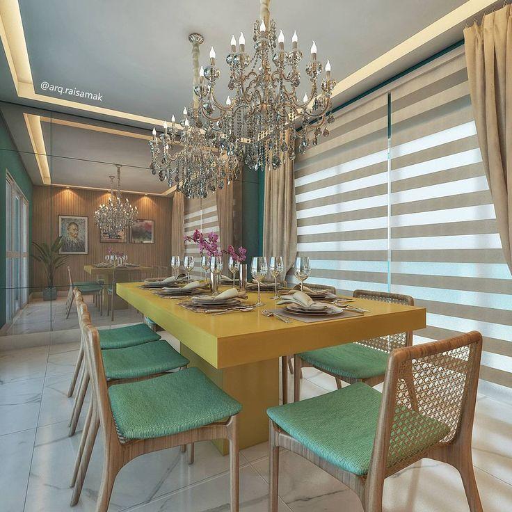 Sala de Jantar  Como deixar o clássico descontraído?   As cores turquesa e amarelo trouxeram vida e fugiram das escolhas óbvias de tonalidades neutras.   Projeto, modelagem e render @arq.raisamak .    #projeto #arquiteta #arquitetura #interiores #arquiteturadeinteriores #designdeinteriores #sala #interiorismo #decor #decoração #coolreference #saladejantar #diningroom #decoracao #instadecor #render #instarender #3D #sketchup #3dsmax #vray #vrayrender #photoshop #archviz #gourmet