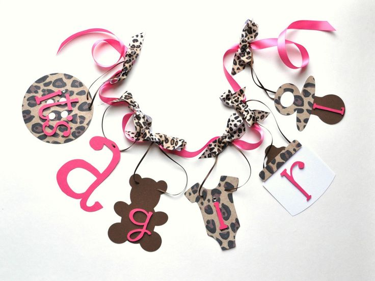 Leopard baby shower decorations cheetah it's a girl banner with bows by ParkersPrints on Etsy. $20.00, via Etsy.