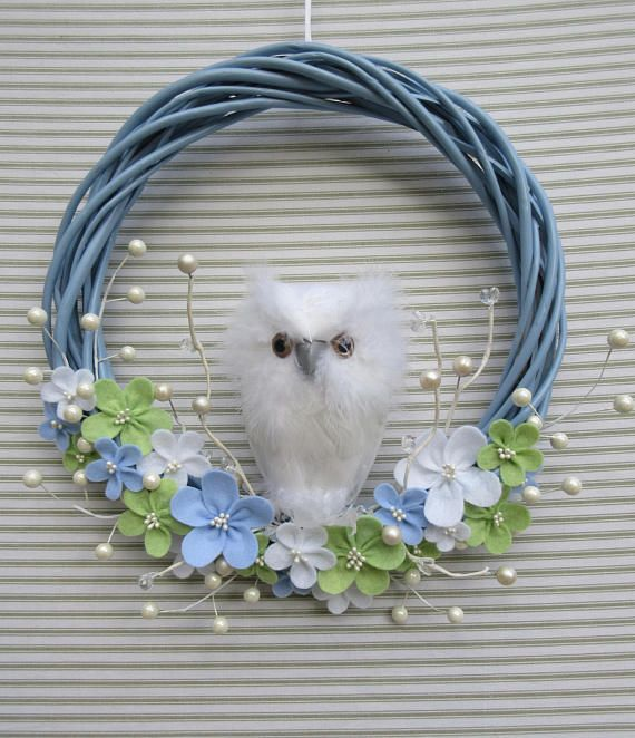 Owl Wreath Snowy Owl Wreath White Owl Wreath Blue Owl