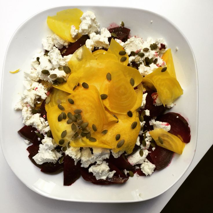 Glorious roasted red beets and raw golden beets with Ontario goat cheese and @Olivethatca red apple balsamic vinaigrette.