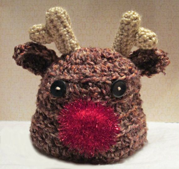 Free Crochet Patterns For Reindeer Hats : Newborn Crochet Reindeer Hat by fun2make on Etsy, USD14.95 ...
