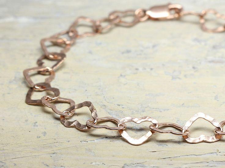 Vergoldete Armbänder - Armband HERZSCHLAG rosè vergoldet 925 Silber - ein Designerstück von schmucke-sachen bei DaWanda