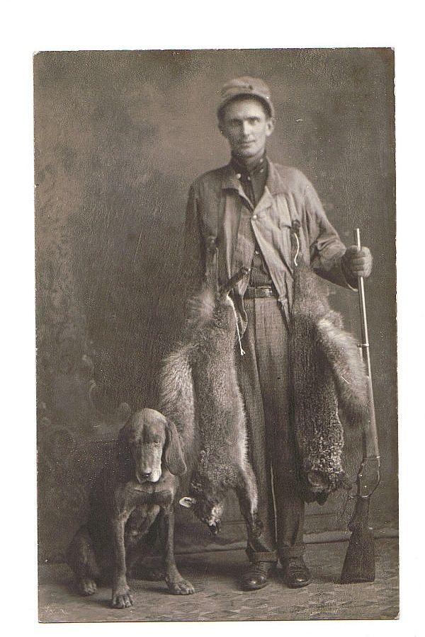 WISCONSIN RACCOON HUNTER & DOG w LEVER ACTION SHOTGUN rppc Real Photo Postcard