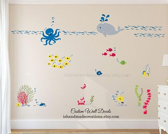 under the sea wall decal  nursery under the sea wall decal nautical wall sticker wall mural for kids playroom wall art ocean wall decals