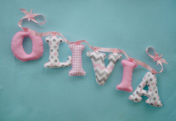 7 Pink and gray nursery name banner fabric letters