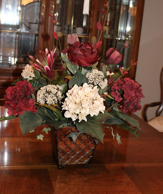 Burgundy Floral Centerpiece via Etsy