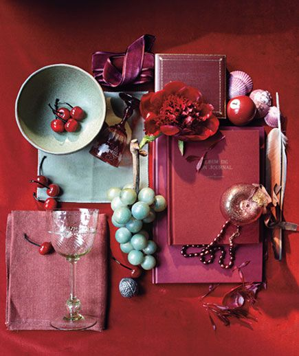 Similar to the wedding color palette: deep reds with purple undertones for the dresses, with sage green accent color  Color Palette: Benjamin Moore (Cherry Wine, Dry Sage, Raisin Torte)