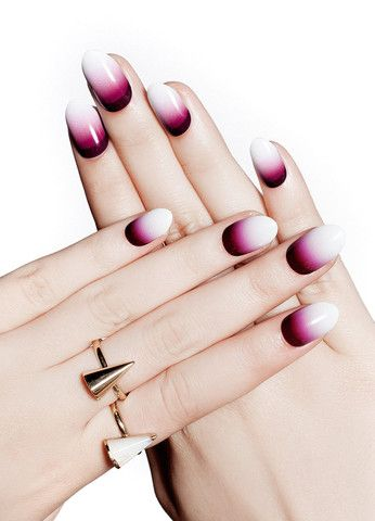 Achieve a subtle and vampy look with these dark plum gradient nail wraps.