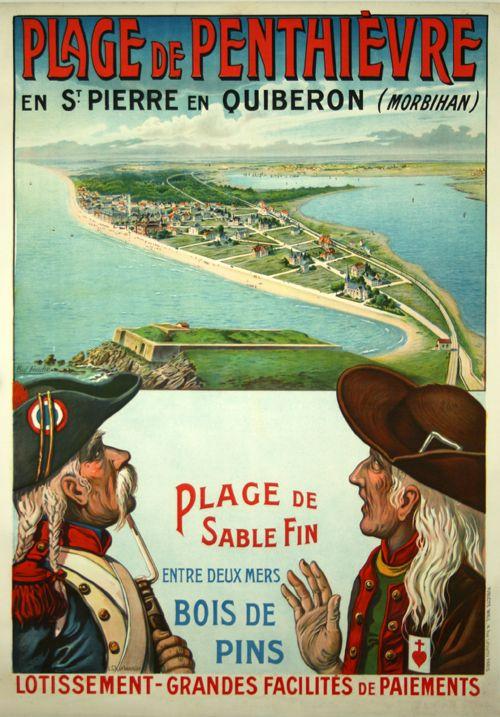 Vintage Travel Poster - Plage de Penthiévre en St Pierre en Quiberon - Morbihan - Bretagne - by  L. Charbonnier - 1905.