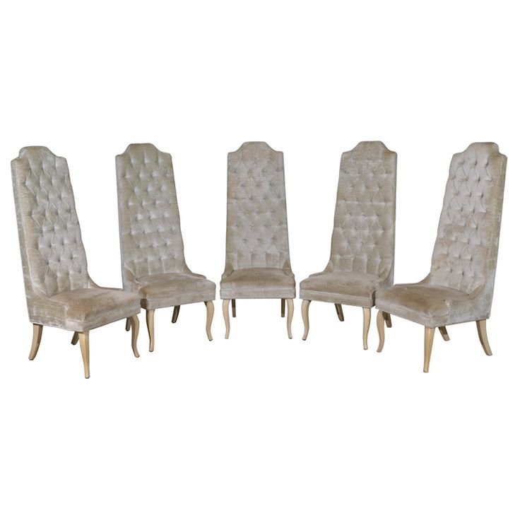 Set Of Five Tall Back Tufted Dining Chairs ChairsModern Room