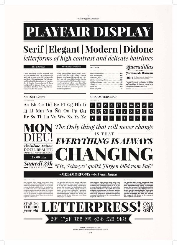 PlayFair Display Type Specimen by Iara Kremer, via Behance