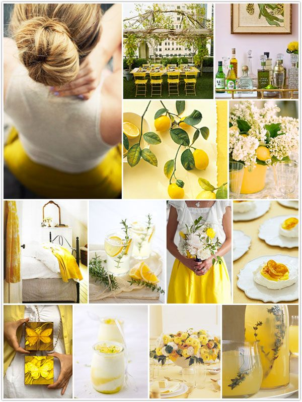 yellow and green: Yellow Wedding, Color Schemes, Mellow Yellow, Lemon Theme, Inspiration Boards, Parties Ideas, Lemon Yellow, Lemon Trees, Accent Color