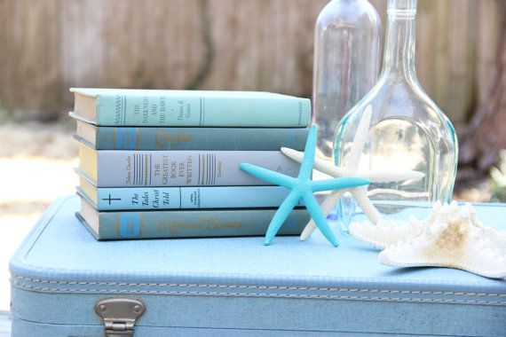 Set of 5 Blue Books - Turquoise, Teal, Royal Blue, Ocean Blue - Wedding Centerpiece on Etsy, $20.00
