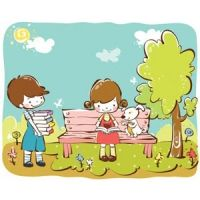 cartoon girl and boy kids learning in park dog is sitting with girl vector