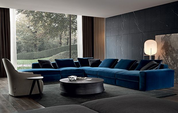 furniture - sunken media room couch? living room couches? not blue.