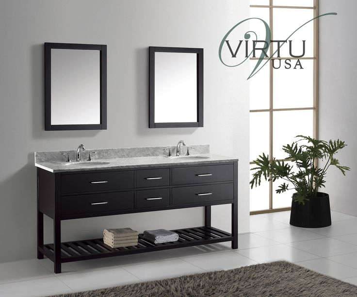 Buy The Virtu USA Caroline Estate 72 Double Square Sink Bathroom Vanity Set  With Italian Carrara White Marble Countertop   Vanity Top Included From
