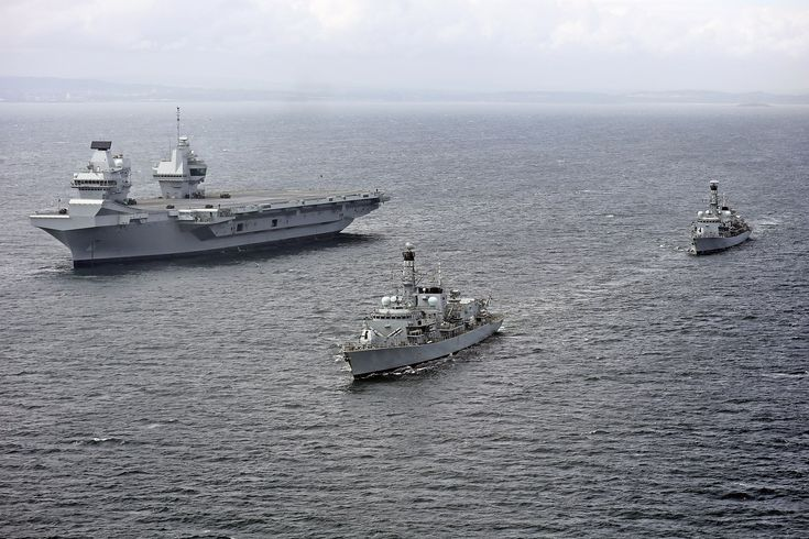 HMS Queen Elizabeth (R08) underway during trials with HMS Sutherland (F81) and HMS Iron Duke (F234) on 28 June 2017 (45162784) - British Armed Forces - Wikipedia